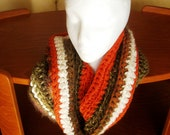 Crocheted Cowl Neck Warmer Muffler Circle Scarf Orange Brown Textured Multi Colored