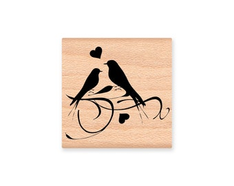 LOVE BIRDS  - wood mounted rubber stamp -(MCRS 22-05)