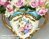 Itty Bitty Bits of Pretty. . . Antique French Sevres Vase 3x4 Original Painting in OIL by LARA