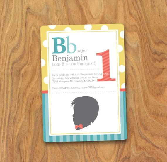 Little Man Invitation, ABC Card Invitation, Custom Silhouette, ABC Alphabet Card, Little Man, Bowtie 5x7 DIY Invitation by MayDetails