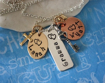 Grandma Necklace Personalized, Mommy Necklace Personalized, Mixed Metal, Silver, Copper & Gold, Key Charm, Cross, Nana