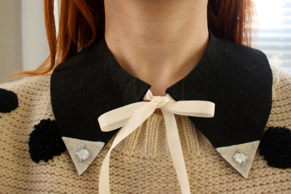 Black Felt Collar with White Jeweled Corners and White Tie