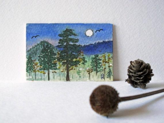 Miniature Landscape watercolor painting art card 2x3 rustic scenery mini mountain trees midnight moon earth nature affordable original art