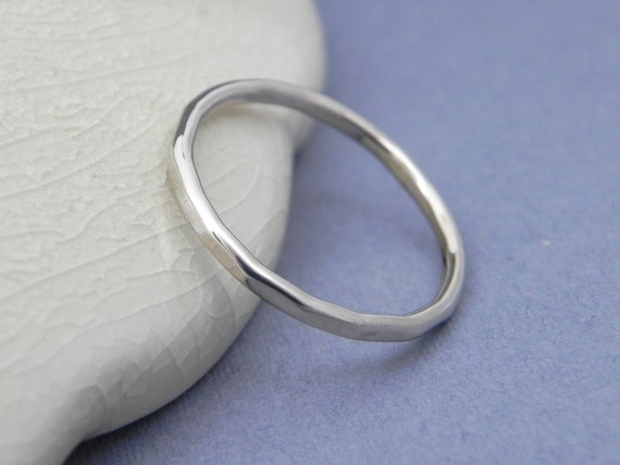 thin white gold wedding band hammered solid gold by