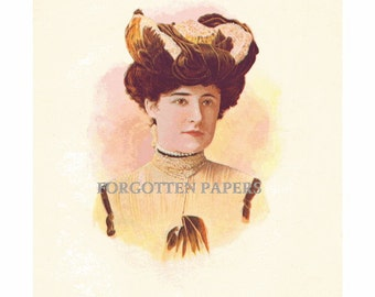 SALE - 1880s  Hand TINTED Full Color VICTORIAN Real Photo Millinery Print  from The Illustrated Milliner - No 3