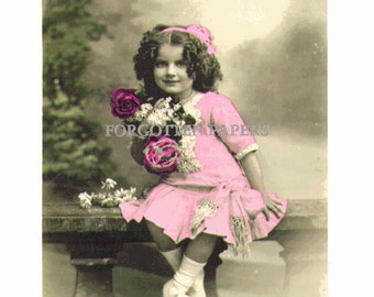 Adorable Curly Hair French EDWARDIAN Girl - Pastel Tinted Real Photo Vintage Postcard - ROSES