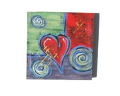 Valentine Day Decor, Acrylic Abstract Heart Painting Original on Canvas, gift idea