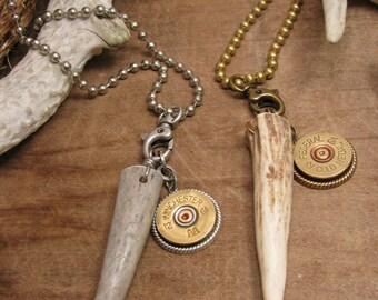 Men's Jewelry - Shotgun Casing Jewelry - Deer Antler Jewelry - Gift For Guy - Deer Antler and 12 Gauge Shotgun Shell Necklace