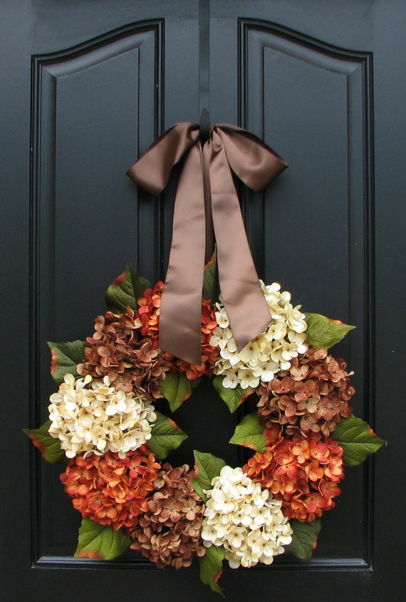 "Reserved 2-6 Hydrangea (18"") Fall, Autumn Leaves, Fall Wreaths, Autumn Decor, Front Door Wreaths, Holidays, Octoberfest, Harvest"