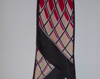 Red, Beige, and Black Long Scarf By Paoli