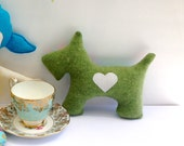 Scottie Dog Pillow Plush - Recycled wool sweater - Eco Friendly - Green with white heart