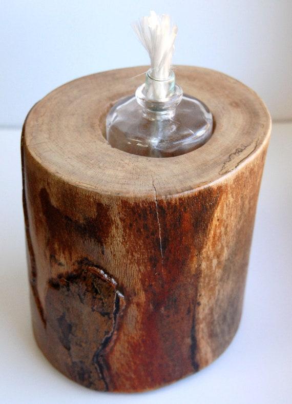 Rustic wood mini oil lamp holder sycamore for Wooden kerosene lamp holder