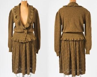Vintage Kenzo Paris Sweater Skirt Set, 1980s Olive Green Wool Knit Designer Two Piece Suit, Ruffle Collar and Peplum, Size Medium Small