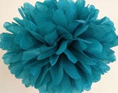 LAGOON / 1 tissue paper pom / wedding decorations / diy / turquoise blue decorations / teal poms / hanging poms / pompom / aisle marker pom