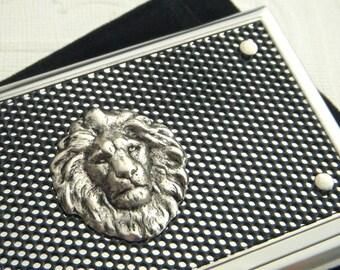 Silver Lion Business Card Case Silver & Black Industrial Design Steampunk Card Case Lion Card Case Leo Gifts Lion Head Lion Case