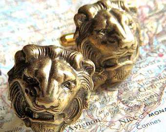 Men's Cufflinks Antiqued Brass Lion Cufflinks BIG & Bold BRASS Cufflinks Made In USA Gothic Victorian Safari Animals Men's Gift Boxed New
