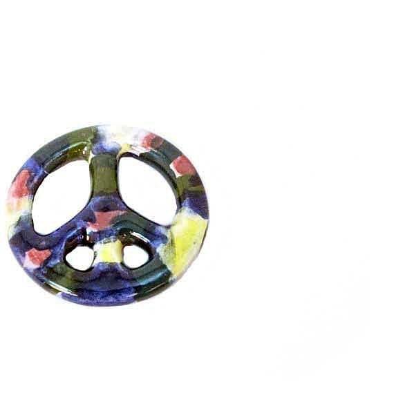 Ceramic Peace Sign Pendant Tie Dye Yellow Blue Green Rose Pendant