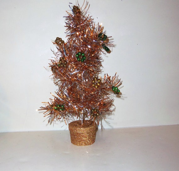 Vintage cij aluminum tinsel christmas tree small table top