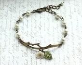 Forest Twig Ivory Flower, Pearl Bracelet. Adjustable Bracelet. For Wife. Sister. Wedding Bracelet. Bridesmaid. Bangle. Friendship Bracelet.
