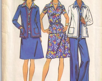 Pantsuit V Neck Tunic, Jacket Skirt Pants Simplicity 6167 Sewing Pattern Vintage 1970s Size 16 Bust 38