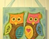 "baby nursery wall art..girl kid room decor..original canvas painting..painted artwork..12 x 12 pink aqua blue brown birds tree ""love owls"""