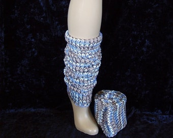 leg warmers - acrylic - knit -  variegated - extra long