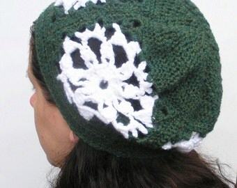 SALE Snowflake  Slouch, Granny Square crochet slouchy beanie hat in forest green, ready to ship.