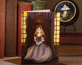 Cat Greeting Card, White Queen Cat, Medieval Fantasy Cat Art, CLEARANCE Greeting Card