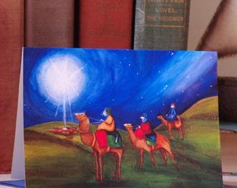 Christmas Card, Three Wise Men, Star of Bethlehem Cat Art 5x7 Blank Greeting Card