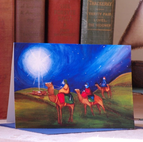 Christmas Card, Three Wise Men, Star of Bethlehem Cat Art 5x7 Blank Greeting Card