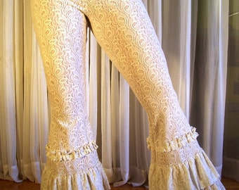 Fluffy tribal lace pants - cream - YOUR SIZE