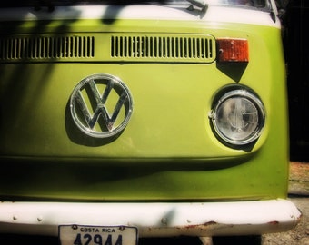 VW Bus Art Lime Green Bright green Vintage VW Neon Green Volkswagen Photography Costa Rica Print
