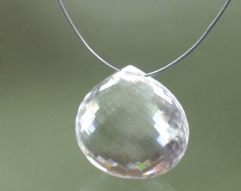 25 ct AAA Micro-Faceted Flower Cut Crystal Quartz Heart Briolette Focal Pendant