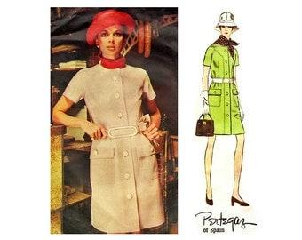 60s Coat Dress Pattern Vogue Couturier 2226, A Line Dress with Jewel Neckline, Pockets & Raglan Sleeves, Bust 34, Pertegaz of Spain
