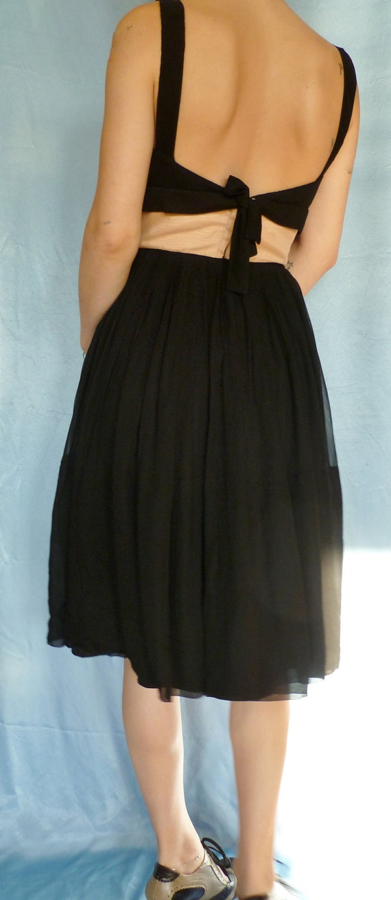 HOLD 1960s Black and Pink Chiffon Party Dress with Shelf Bust