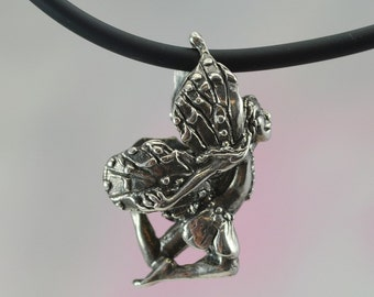 Sterling Silver Faerie Pendant, Small Flying Faerie