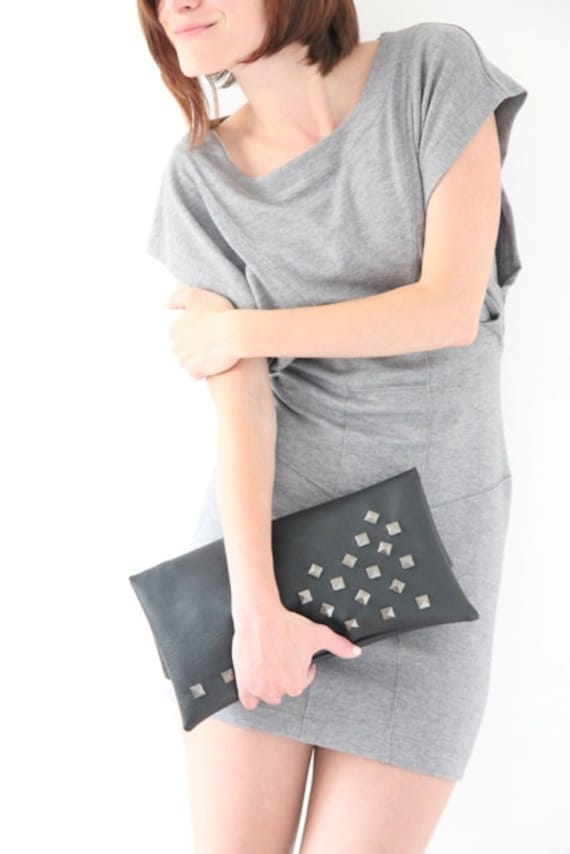 Large leather studded bag, zipper pouch, fold over clutch, bag with spikes