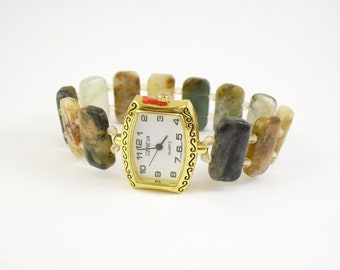 Beaded Stretchy Bracelet Watch - Flower Jade and Honey Crystal Glass