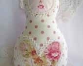 Made to order - Russian Matryoshka Babushka doll - creamy & pink polka dots fabric
