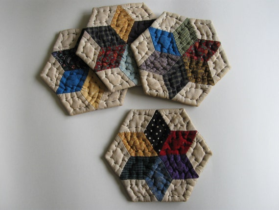 Coasters Quilted Mug Mats Fabric Coasters Rustic Primitive Country Decor Farmhouse Decor Kitchen Housewares Scrappy Star Patchwork