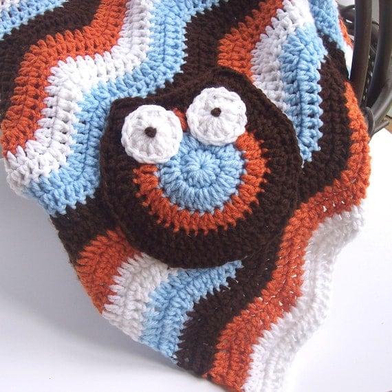 Crochet Owl Blanket : Crochet Baby Boy Chevron Baby Blanket, Owl Baby Blanket, Aqua Orange ...