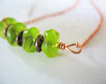 Glass Necklace Lime Green Copper Ripple Beads