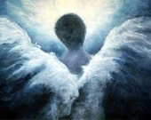 Guardian Angel Art Print, Ascending Angel, From The Original Oil Painting, Signed by Marina Petro
