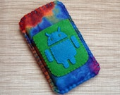 Android Phone Case in Blue and Green Tie Dye Felt LIMITED EDITION