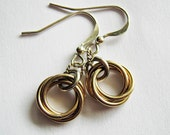 SAVE 15% Mobius Love Knot Earrings, Mobius Love Knot Necklace Pendant Set in Gold and Sterling Silver Chainmaille