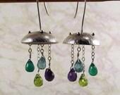 Silver Jellyfish Earrings- Amethyst, Peridot, Apatite, Green Onyx, Metal Work with Gemstones