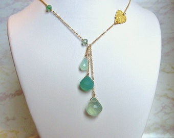 Chalcedony Drop Necklace- Gold Filled, Textured Metal