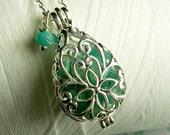 Worry Locket - green jade teardrop locket / jade locket / silver locket / locket necklace / jade necklace / living locket