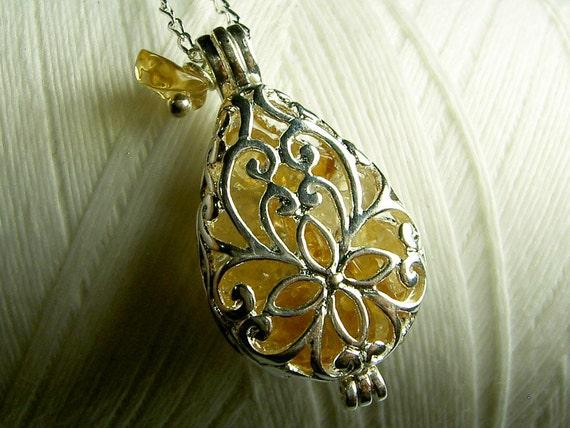 Worry Locket - citrine teardrop locket / living locket / silver locket / locket necklace / citrine necklace / citrine locket /