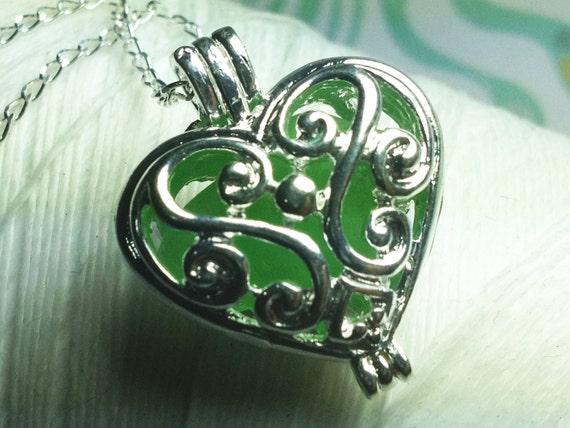 Worry Locket - green seaglass heart locket / heart locket / heart necklace / locket necklace / seaglass necklace / floating locket